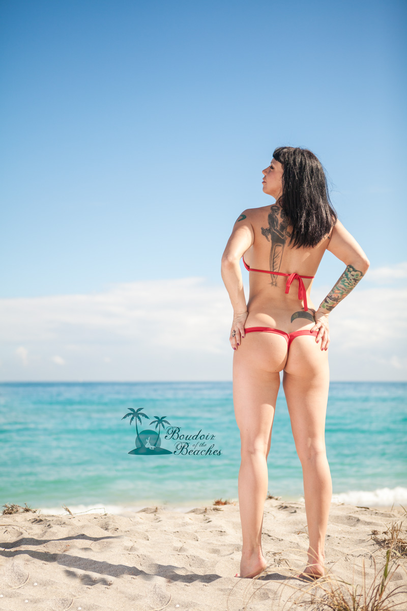 Jackie – Hollywood, FL – Boudoir photography on the beach – Red Bikini